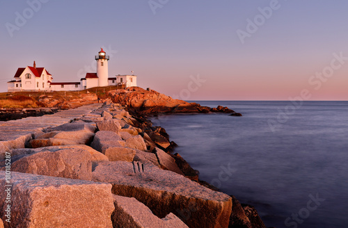 Beautiful sunset of Eastern Point Lighthouse at Gloucester, Massachusetts, USA Fototapeta