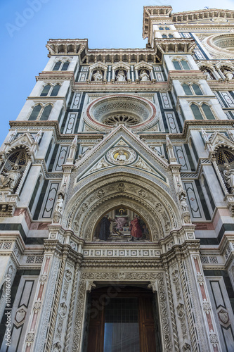 Fotografie, Obraz  Partial view of Facade of The Duomo, Cathedral in Florence, Italy