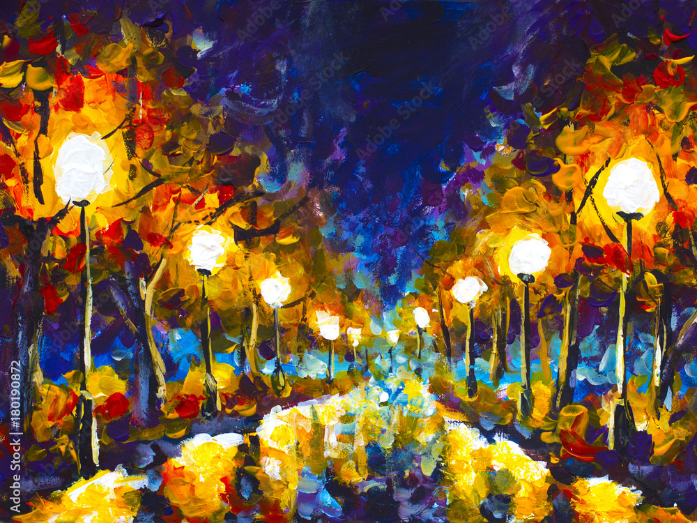 Original expressionism oil painting evening park cityscape, beautiful reflection on wet asphalt on canvas. Abstract violet-orange lonely night park. Palette knife artwork. Impressionism. Art.