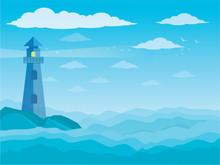 Sea And Clouds, Bird In The Sky, Sky, Sea, Scene, Beautiful, Background, Water, Nature, Pattern, Cloudscape, Cartoon, Landscape, Ocean, Vector Illustration