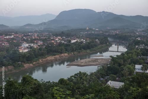 Tuinposter Purper Top View cityscape of Luang Prabang, Laos.