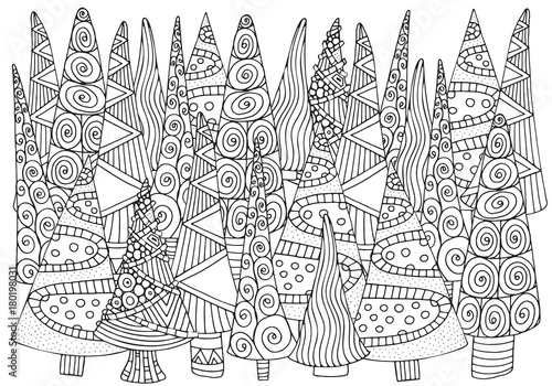 Pattern for coloring book of Christmas trees, hand-drawn ...