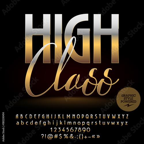Fotografie, Obraz  Vector High Class golden Alphabet  letters set, Numbers and Symbols