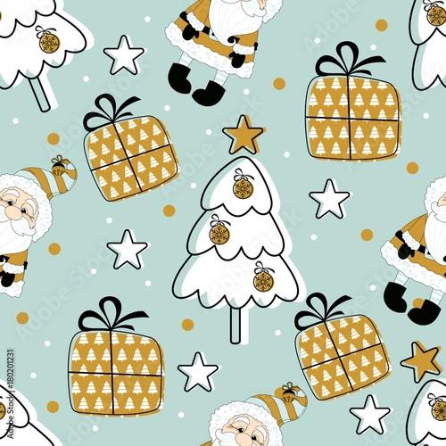 Stoffe zum Nähen Urlaub Musterdesign mit Santa Claus. Weihnachten Hintergrund.