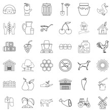 Household Icons Set, Outline Style
