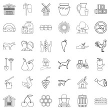 Farm Icons Set, Outline Style
