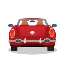 Isolated Red Car, Retro Cabrio...