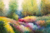 Oil Canvas Painting: Spring Meadow with Colorful Flowers and Tre - 180214215