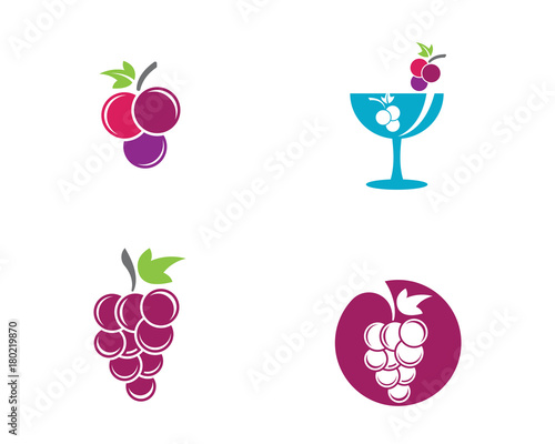 Grapes logo template vector icon Fototapete