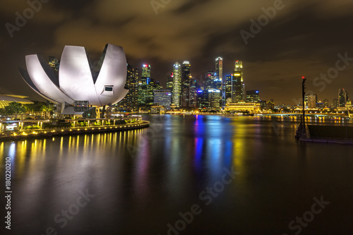 Night view of Singapore city skyline in Singapore Poster