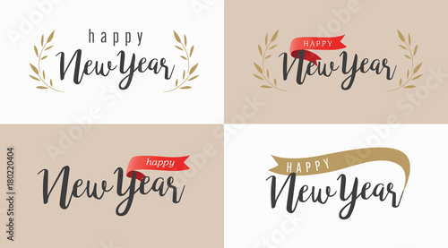 happy new year text logo or banner classic font vintage style with red ribbon