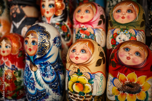Photo Matryoshka is a Russian wooden toy in the form of a painted doll