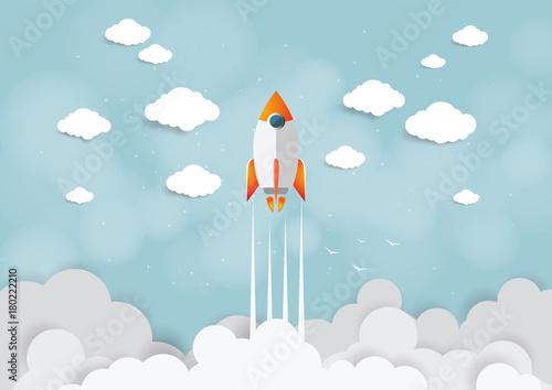 Papierowa sztuka koncepcji projektu startowego. Biznesowa płaska projekta wektoru ilustracja