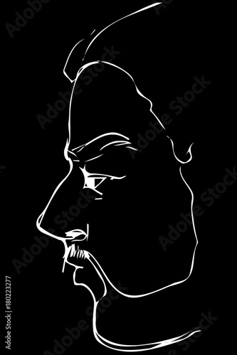 Photo  sketch angry uncle with beard in profile