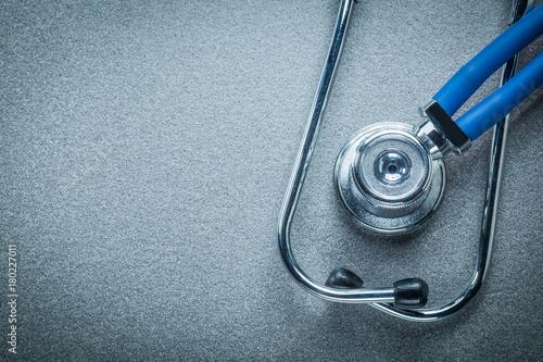 Fototapeta Medical stethoscope on grey background top view obraz na płótnie