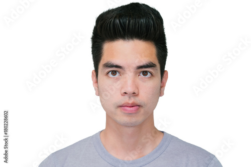 e1aaa0c8db5 Close-up Handsome smiling young asian man isolated on white background.  Human Face.