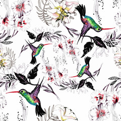 Fototapeta Egzotyczne Watercolor hand drawn seamless pattern with beautiful flowers and colorful birds on white background.