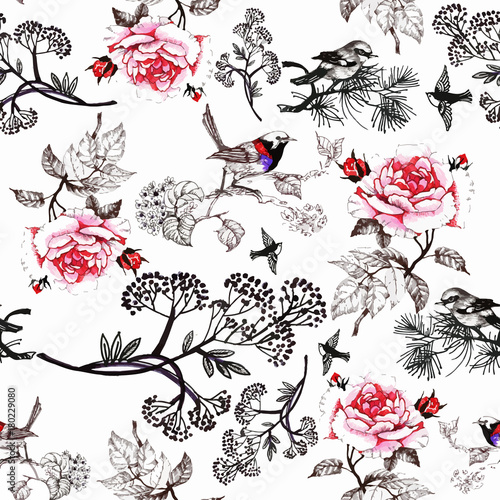 watercolor-hand-drawn-seamless-pattern-with-beautiful-flowers-and-colorful-birds-on-white-background