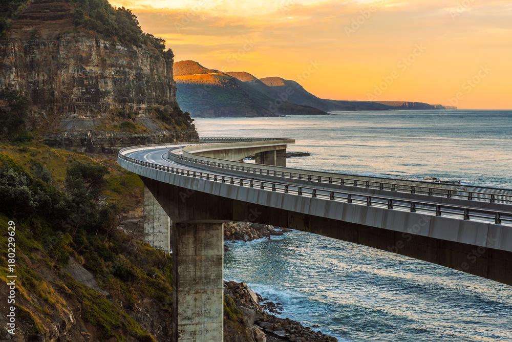 Fototapety, obrazy: Sunset over the Sea cliff bridge along Australian Pacific ocean