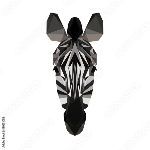 Vector polygonal zebra isolated on white Canvas-taulu