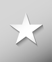 White Perfect Star On Gray Gra...