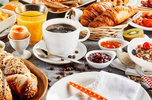 Fototapeta Morning breakfast food set on table
