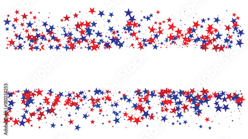 Canvas Prints Countryside American national colors square vector background, festive pattern with flying, falling red, blue, white stars in colors of the United States' flag. Independence Day banner, bright star dust confetti