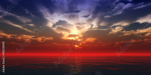 Fotobehang Rood paars beautifully sunset over ocean