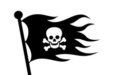 Wavy Black Pirate Flag With Bo...