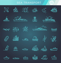 Vector Line Set Of Ships And B...