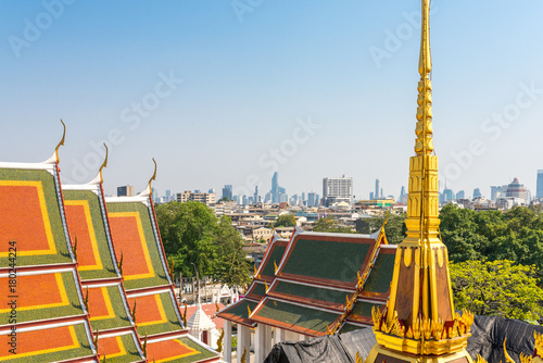 Bangkok, Thailand. Multiple roof tiers are important element of the Thai temple. The use of ornamented multiple tiers is reserved for roofs on temples, palaces and important public buildings