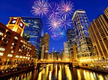 Fireworks Over Chicago Skyscra...