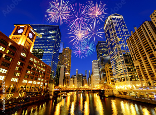 Poster Chicago Fireworks over Chicago skyscrapers, United States