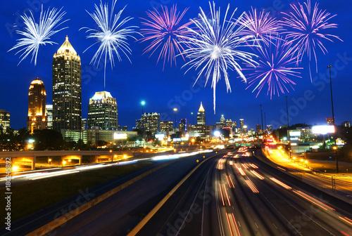 Fotodibond 3D Fajerwerki nad Atlanta drapaczy chmur, usa