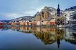 canvas print picture - The citadel, Collegiate Church and Meuse, Dinant, Belgium