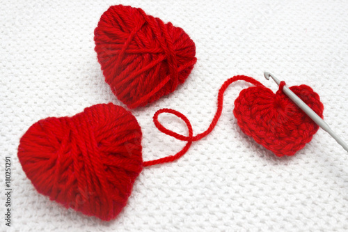 Red Heart Made Of Wool Yarn And Crochet Heart Soft Focus Handmade