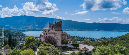 View above Annecy Lake in France Canvas Print