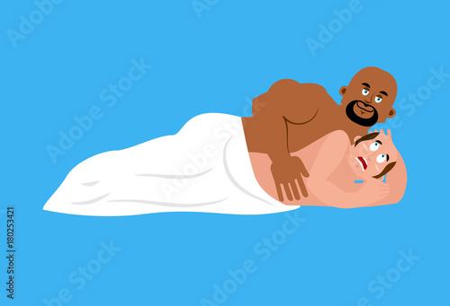 Fototapeta Broke Straight Boy. fear straight. Mans phobia. In bed with gay. Big gay is African American. Vector illustration obraz na płótnie