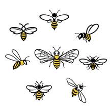 Honey Bee Icons. Set Of Honey ...