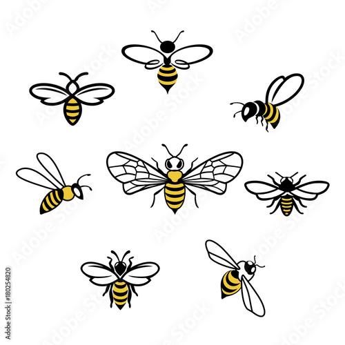 Honey bee Icons Fototapeta