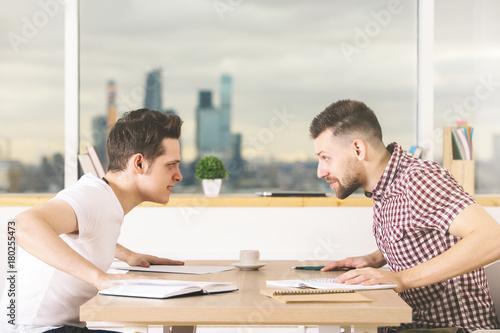 Fighting businessmen at work Poster