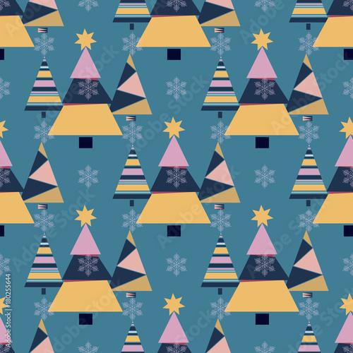 Stoffe zum Nähen Schneeflocke Winter Weihnachtsbaum Urlaub Tannenbaum Design Saison Dezember Schnee Sterne Feier Ornament Vektor Illustration Musterdesign Hintergrund.