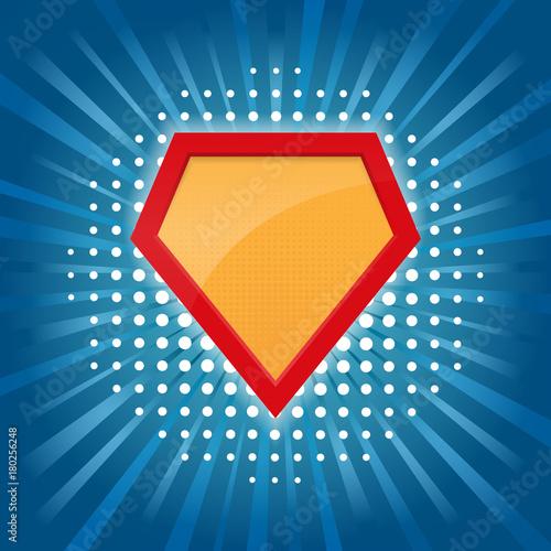 blank superhero badge superhero logo template isolated on blue