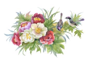 Naklejka Do sypialni Watercolor hand drawn colorful beautiful flower and birds.