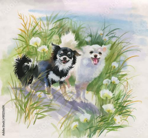 Ręka rysujący psy na naturze, akwareli ilustracja.
