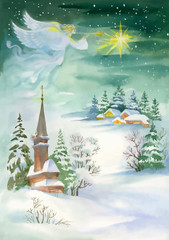 Fototapeta Do kościoła Merry Christmas and New Year Greeting Card with Beautiful Angel with Wings, Watercolor Illustration.