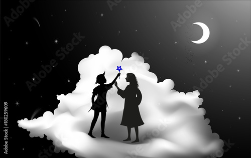 Fotografie, Tablou Peter Pan story, Peter Pan and Wendy standing on the cloud, fairy night,
