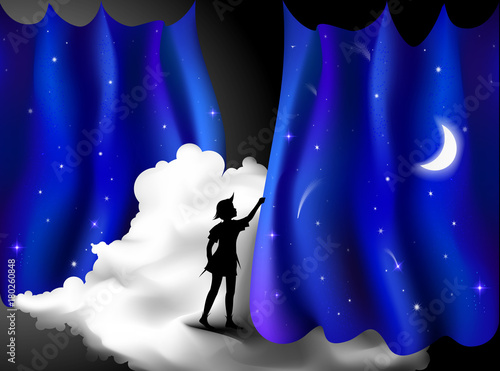 Photo Peter Pan story, Boy standing on the cloud behind the night blue curtain, fairy