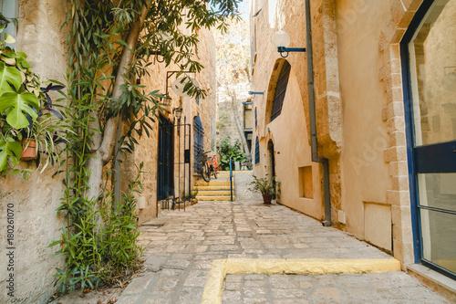 Fototapety, obrazy: Ancient street in Tel-Aviv Jaffo. Jaffa old urban architecture.