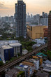 バンコク下町街ビル、青空、ビジネス、都会